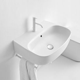 WS Bath Collections Nolita 5342 Ceramic Wall Mounted / Vessel Bathroom Sink 27.6""