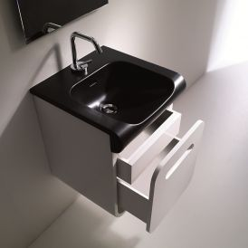 "WS Bath Collections Inka 3412 Black Semi-Recessed Bathroom Sink 15.7"" x 15.7"""