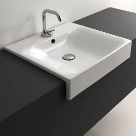 "WS Bath Collections Cento 3546 Semi-Recessed Bathroom Sink 19.7"" x 17.7"""