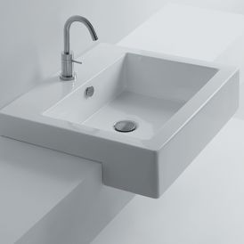 "WS Bath Collections Hox 48S Semi-Recessed Bathroom Sink 18.9"" x 18.9"""