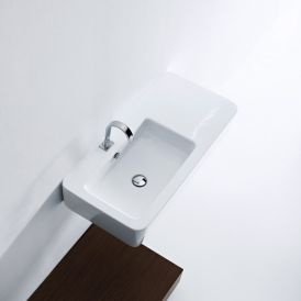 "WS Bath Collections Ego 3244 Wall Mounted / Vessel Bathroom Sink 35.4"" x 16.9"""