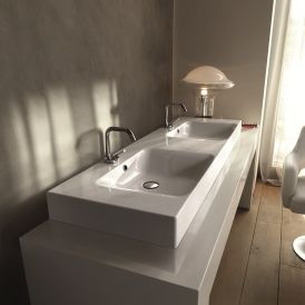 "WS Bath Collections Cento 3536 Wall Mounted/ Vessel Double Bathroom Sink 55.1"" x 17.7"""