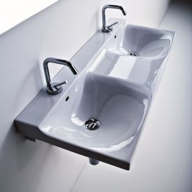 "WS Bath Collections Buddy 3404 Double Wall Mounted Bathroom Sink 39.4"" x 16.5"""