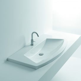 "WS Bath Collections Glam 100 Wall Mounted / Drop-In Bathroom Sink 39.4"" x 21.7"""