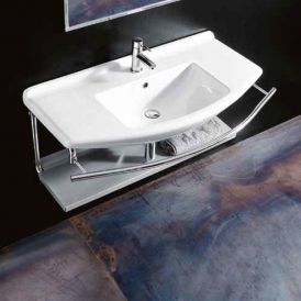 "WS Bath Collections Topazio 0254 Wall Mounted/ Vessel Bathroom Sink 43.3"" x 20.1"""
