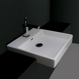 WS Bath Collections Plain 45S Semi-Recessed Bathroom Sink 17.7""