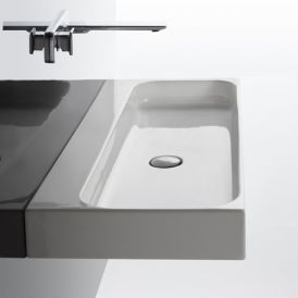 "WS Bath Collections Unit 100 Wall Mounted/ Vessel Bathroom Sink 39.4"" x 16.5"""