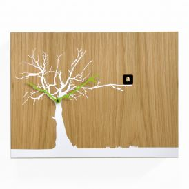 CuCuRuKu M1769 Oak Wood/White Tree Wall Clock