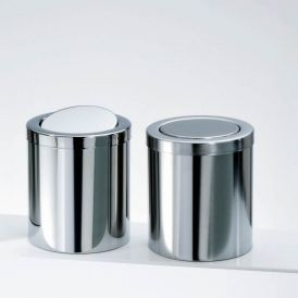 Harmony 213 Waste Basket with Revolving Cover in Polished Stainless Steel
