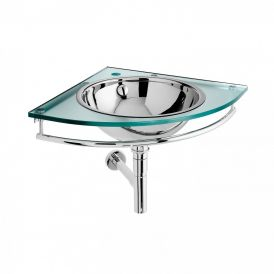 Circe 6561 Wall Mounted Glass Vanity with Metal Sink