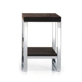 Harmony 808 Wood Stool with Board in Polished Stainless Steel