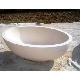 Piedra Orion Free Standing Bathtub in Lymra Hand Carved Stone