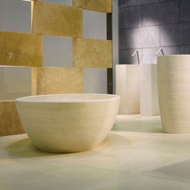 Piedra Orion Free Standing Bathtub in Beige Travertine Hand Carved Stone