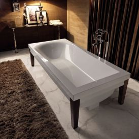 WS Bath Collections Bentley 3950 White Glossy Crystal-tech Bathtub with Wooden Legs