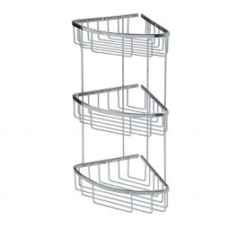 WS Bath Collections Filo 50033 Wall Mounted Three-Tier Corner Shower Caddy in Polished Chrome