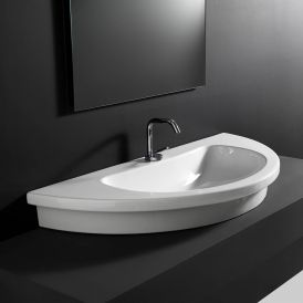 "WS Bath Collections Kart 96 Wall Mounted / Vessel / Drop-in Bathroom Sink in Ceramic White 37.8"" x 18.9"""