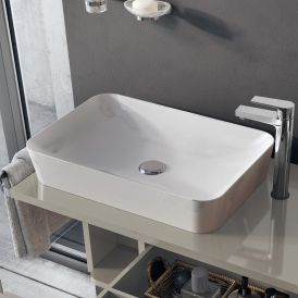 "WS Bath Collections Ultra 060 Vessel Bathroom Sink in Ceramic White 23.6"" x 17.7"""