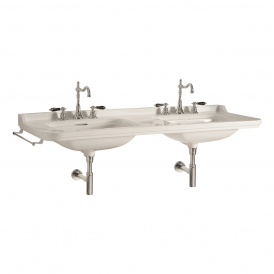 WS Bath Collections Waldorf 4143K1 Wall Mounted Double Ceramic Bathroom Sink 59.1""