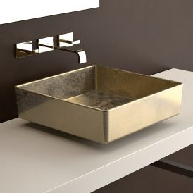 "WS Bath Collections Four Lux Vessel Bathroom Sink in Gold Leaf 3D 15.7"" x 15.7"""