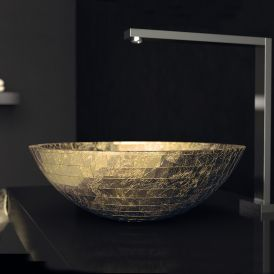 WS Bath Collections Mosaic Vessel Bathroom Sink in Gold Leaf 3D 16.5""
