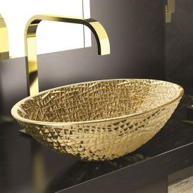 "WS Bath Collections Ice Oval Lux Vessel Bathroom Sink in Gold 20.1"" x 13.6"""