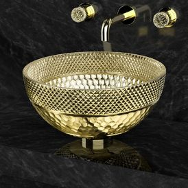 WS Bath Collections Ramada Lux Vessel Bathroom Sink in Crystal Gold 13.4""