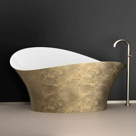 WS Bath Collections FLOwer Style Bathtub in Gold Leaf / Glossy White