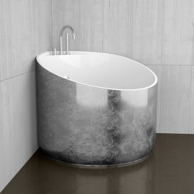 WS Bath Collections Mini Shower Bathtub in Silver Leaf / Glossy White