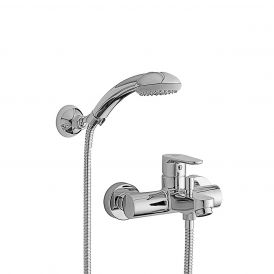 WS Bath Collections Green GR 023 Bath / Shower Faucet with Hand-Shower in Polished Chrome