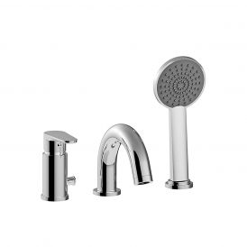WS Bath Collections Green GR 040 Three-hole Bath Faucet with Hand Shower in Polished Chrome