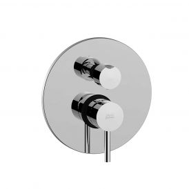 WS Bath Collections Light LIG 018 Concealed Two Outlet Shower Faucet with Valve and Trim in Polished Chrome