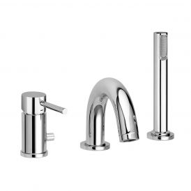 WS Bath Collections Light LIG 040 Three-hole Bath Faucet with Hand Shower in Polished Chrome