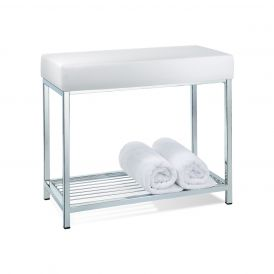 DW 77 White Leather Bench in Chrome