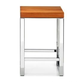 DW WO HOB Beech Wood Stool in Polished Stainless Steel