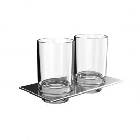 Art 1625.001.00 Wall Mounted Double Tumbler in Crystal Clear Glass
