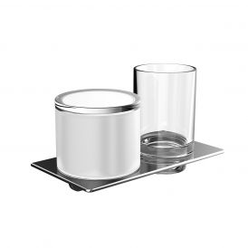 Art 1631.001.02 Wall Mounted Tumbler and Soap Dispenser in Crystal Clear Glass