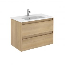 WS Bath Collections Ambra 80 Wall Mounted Bathroom Vanity in Nordic Oak