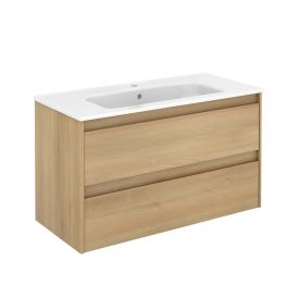 WS Bath Collections Ambra 100 Wall Mounted Bathroom Vanity in Nordic Oak