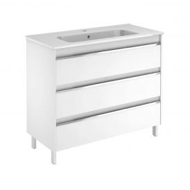 WS Bath Collections Belle 100 Free Standing Bathroom Vanity in Gloss White