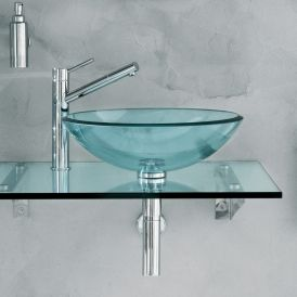 Barujo 66242-92 Wall Mounted Glass Bathroom Countertop