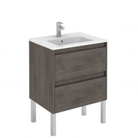 WS Bath Collections Ambra 60F Free Standing Bathroom Vanity in Samara Ash