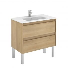 WS Bath Collections Ambra 80F Free Standing Bathroom Vanity in Nordic Oak