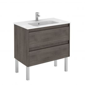 WS Bath Collections Ambra 80F Free Standing Bathroom Vanity in Samara Ash
