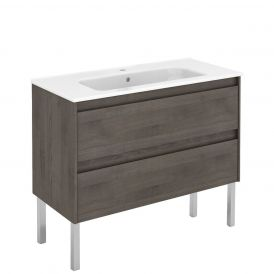 WS Bath Collections Ambra 100F Free Standing Bathroom Vanity in Samara Ash
