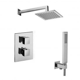 WS Bath Collections Level KIT LEQ 518 Complete Shower Set with Shower Head, Hand Shower, and Faucet in Polished Chrome