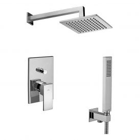 WS Bath Collections Level KIT LES 015 Complete Shower Set with Shower Head, Hand Shower, and Faucet in Polished Chrome