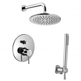 WS Bath Collections Light KIT LIG 015 Complete Shower Set with Shower Head, Hand Shower, and Faucet in Polished Chrome