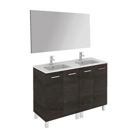 WS Bath Collections Logic 120 Free Standing Bathroom Vanity with Mirror in Wenge