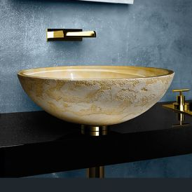 WS Bath Collections Luna 40 Vessel Bathroom Sink in Yellow 15.7""