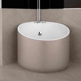 WS Bath Collections Mini Shower Bathtub in Tortora / Glossy White